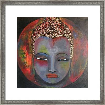 Grey Buddha In A Circular Background Framed Print