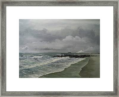 Framed Print featuring the painting Grey Day At Ocean Grove by Ken Ahlering