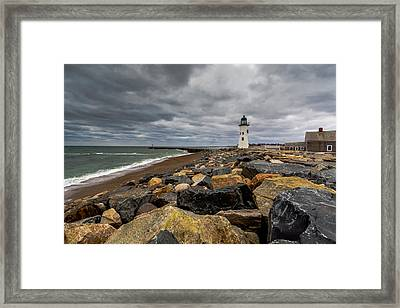 Grey Day At Scituate Lighthouse Framed Print