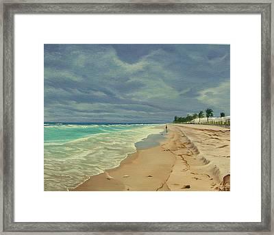 Grey Day On The Beach Framed Print by Lea Novak