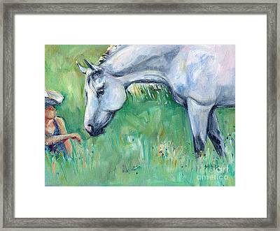 Grey Horse And Cowgirl Framed Print by Maria's Watercolor