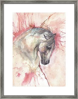 Grey Horse On Red Background Framed Print