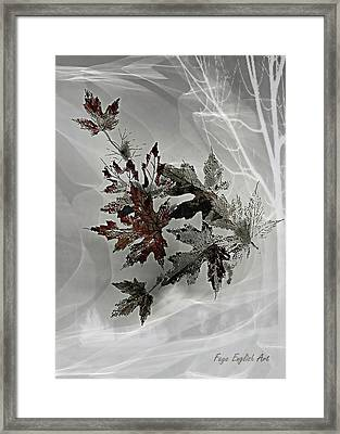 Grey Leaves Of Wintertime Framed Print