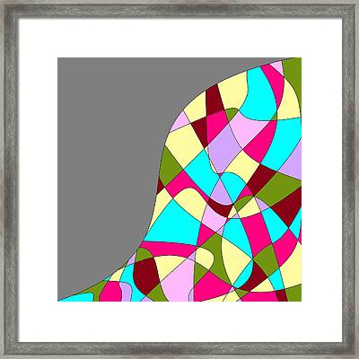 Grey Multicolored Abstract Framed Print