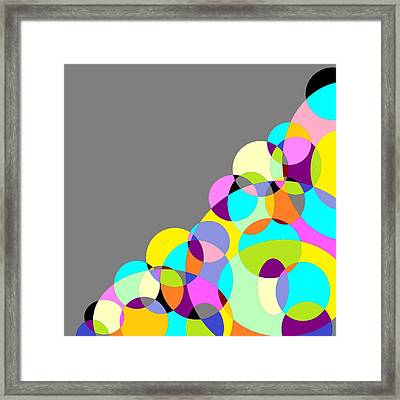 Grey Multicolored Circles Abstract Framed Print by Marianna Mills