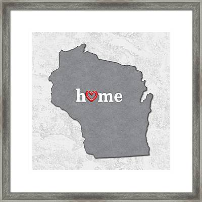 State Map Outline Wisconsin With Heart In Home Framed Print by Elaine Plesser