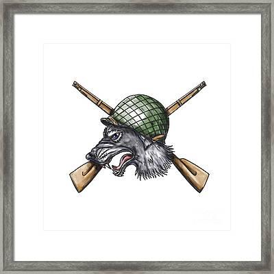 Grey Wolf Ww2 Helmet Crossed Rifles Tattoo Framed Print by Aloysius Patrimonio