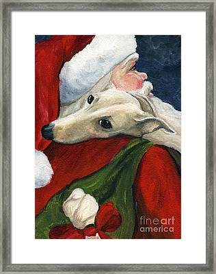 Greyhound And Santa Framed Print