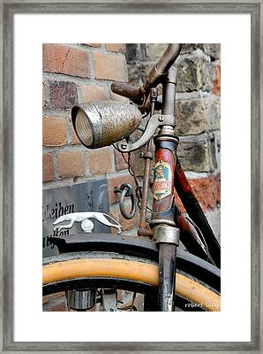 Greyhound Bicycle Framed Print by Robert Lacy