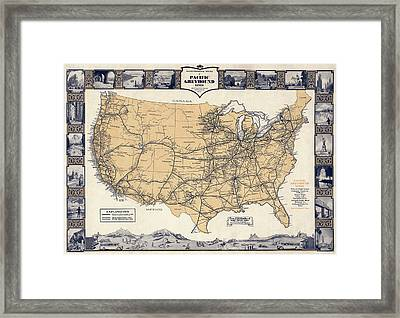 Greyhound Bus Route Map C. 1932 Framed Print