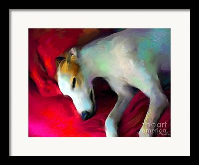 Sleeping Dog Digital Art Framed Prints