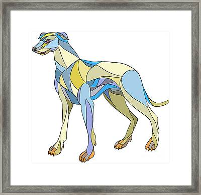 Greyhound Dog Side Mosaic Framed Print by Aloysius Patrimonio
