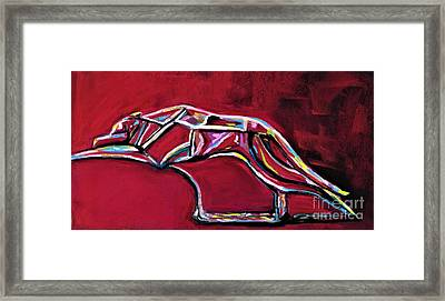 Framed Print featuring the painting Greyhound Glass Figurine  by Frances Marino