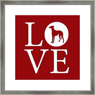 Greyhound Love Red Framed Print by Nancy Ingersoll
