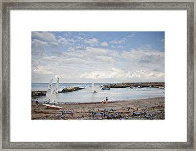 Greystones Harbour With Yachts Framed Print by Gary Rowe