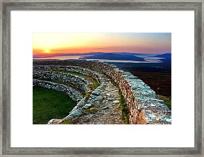 Grianan Fort Sunset Framed Print by Nina Ficur Feenan