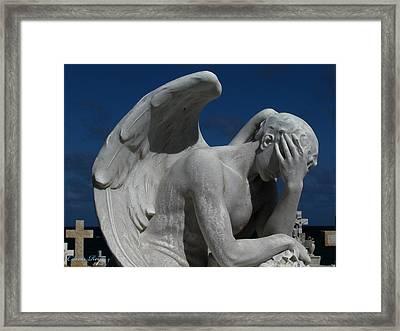 Grieving Angel Framed Print by Carlos Reyes
