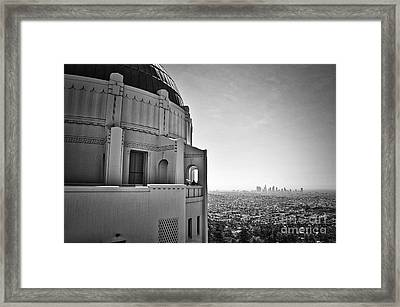 Griffith Observatory And Downtown Los Angeles Framed Print