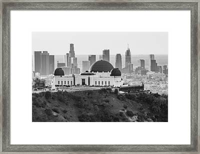 Griffith Observatory And La Black And White Framed Print by John McGraw