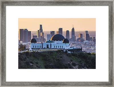 Griffith Observatory And La Sunrise Framed Print by John McGraw