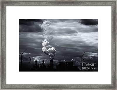 Grim Black White Energy Landscape Framed Print