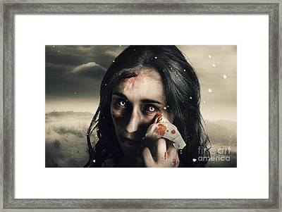 Grim Face Of Horror Crying Tears Of Blood Framed Print