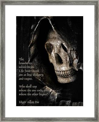 Grim Reaper And Edgar Allan Poe Framed Print