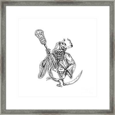Grim Reaper Lacrosse Defense Pole Tattoo Framed Print by Aloysius Patrimonio