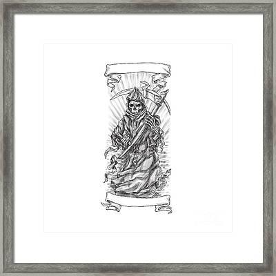 Grim Reaper Scythe Ribbon Tattoo Framed Print by Aloysius Patrimonio