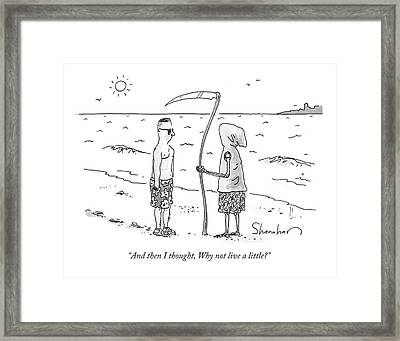 Grim Reaper Wearing A Swimsuit At The Beach. Framed Print by Danny Shanahan