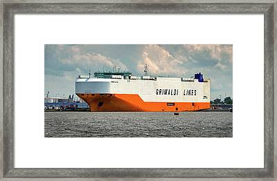 Framed Print featuring the photograph Grimaldi Lines Grande Halifax 9784051 At Curtis Bay by Bill Swartwout Fine Art Photography