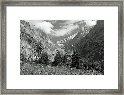 Grindelwald Glacier In Switzerland In Black And White Framed Print