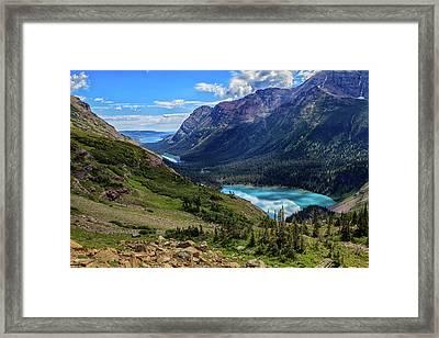 Grinell Hike In Glacier National Park Framed Print