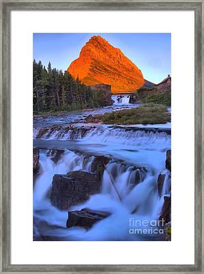 Grinnell Glow Over Swiftcurrent Falls Framed Print