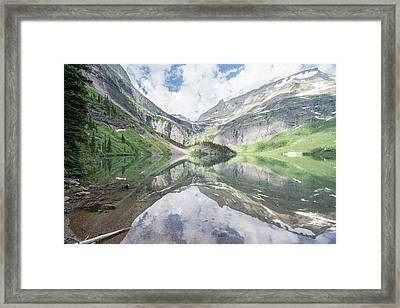 Grinnell Lake Mirrored Framed Print