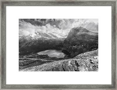 Grinnell Lake Overlook Black And White Framed Print