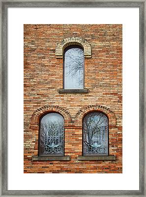 Grisaille Windows - First Congregational Church - Jackson - Michigan Framed Print by Nikolyn McDonBell Tower - First Congregational Chuald