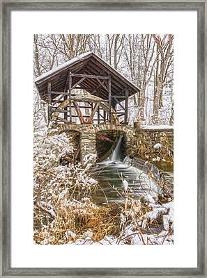 Grist Mill In Fresh Snow Framed Print