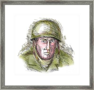 Gritty World War Two Soldier Framed Print by Aloysius Patrimonio