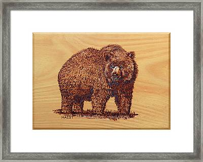 Framed Print featuring the pyrography Grizzly 3 by Ron Haist