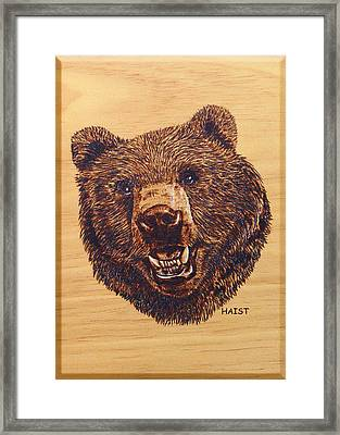 Framed Print featuring the pyrography Grizzly 5 by Ron Haist