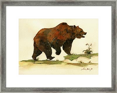 Grizzly Bear Art Framed Print by Juan  Bosco