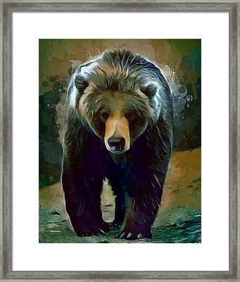 Grizzly Bear Strolls Painting  Framed Print