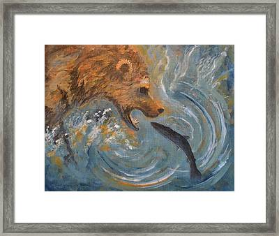 Grizzly Bear Trout Framed Print