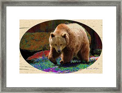 Framed Print featuring the digital art Grizzly Bear With Enhanced Background by Kae Cheatham