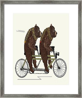 Framed Print featuring the painting Grizzly Bears Lets Tandem by Bri B