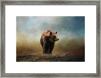 Grizzly On The Rocks Bear Art Framed Print