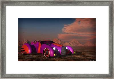 Grobo Car In A Desert Setting Framed Print