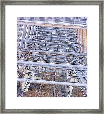 Framed Print featuring the digital art Grocery Carts 1 by Kae Cheatham