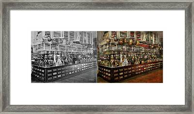 Grocery - Edward Neumann - The Groceries 1905 Side By Side Framed Print by Mike Savad